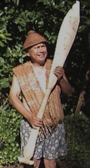 Ben, Sr. with the paddle he carved in 1993