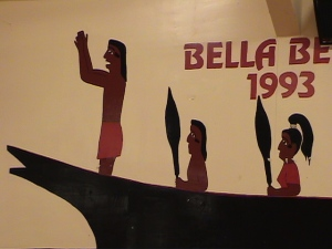 Depiction of Elwha Warrior Canoe on Paddle to Bella Bella, B.C. in 1993